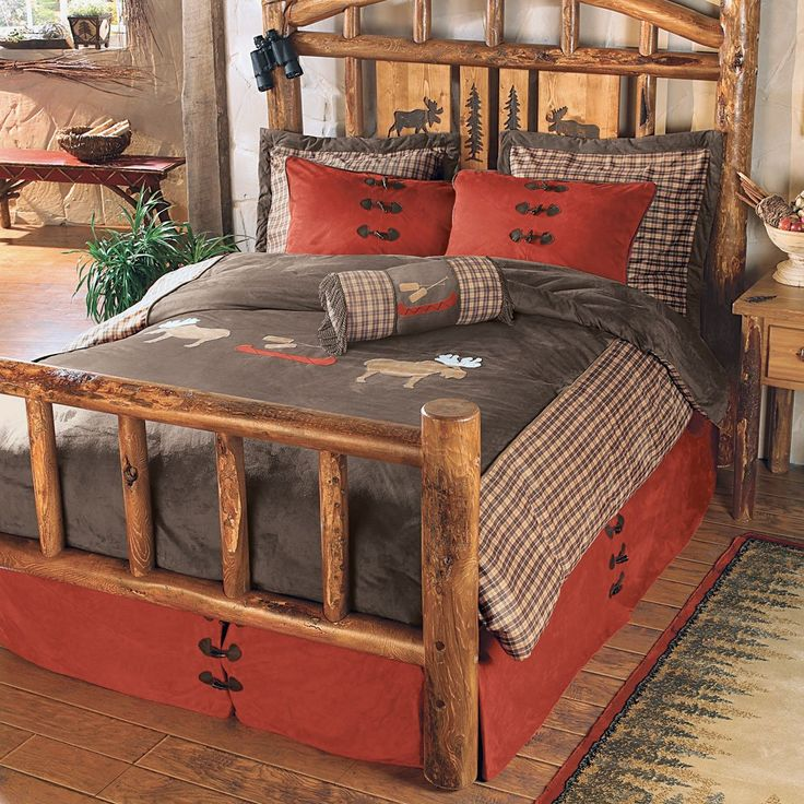 Moose Plaid Bed Set Full/Queen Log bedroom furniture