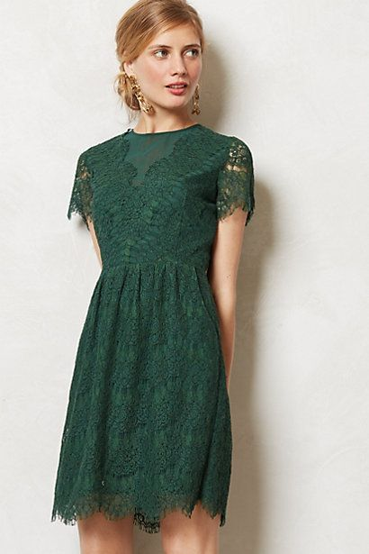 This emerald green lace dress would make a lovely bridesmaid or maid of honor dress.