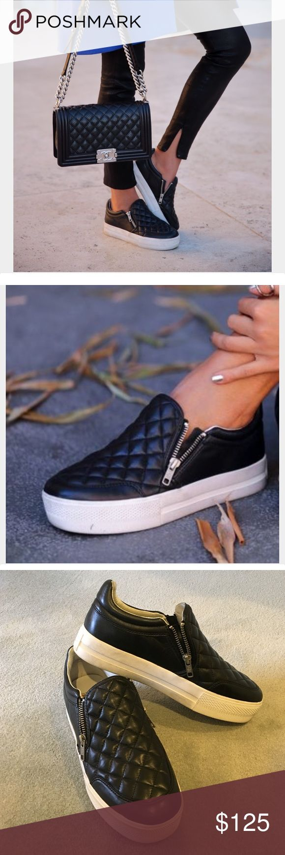 Ash Jodie slip on quilted black sneaker. Very gently worn, beautiful sneakers! Were sold at Neiman Marcus. Full leather upper. Cool black quilted design! Ash Shoes Sneakers