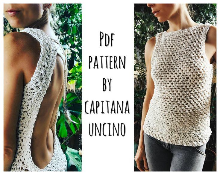 PDF-file for Crochet PATTERN Zahara Crochet Top, open back, Sizes XS,S,M,L by CapitanaUncino on Etsy