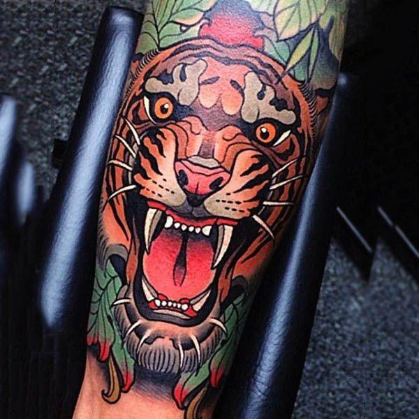 Resultado de imagen para tiger tattoo traditional