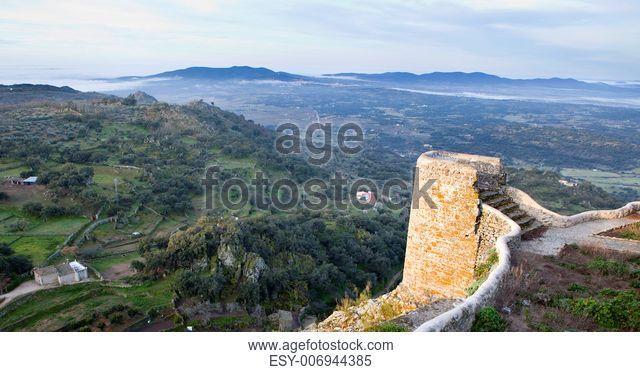 Montanchez castle remains at sunrise, Caceres, Spain