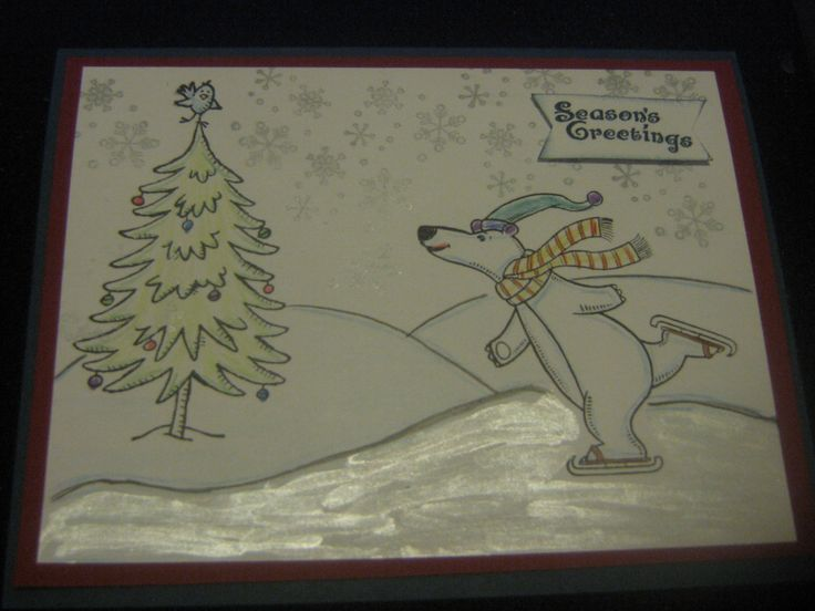 Merry Monday Christmas Critter Challenge.  Used CTMH Polar Bear Holiday-- SU Snow Much Fun, Cherry cobbler and Midnight Muse