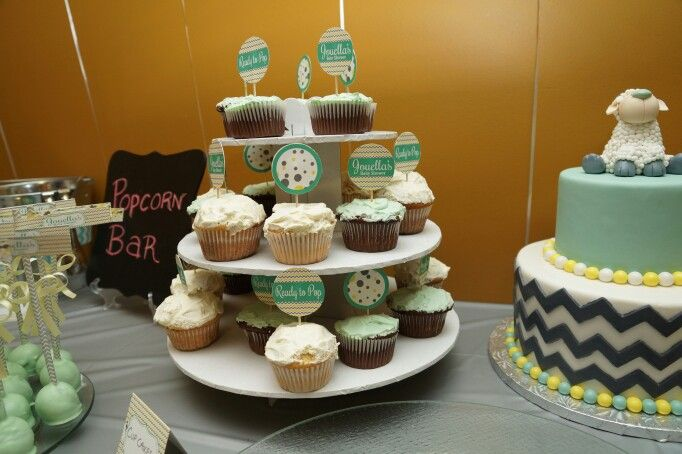 Cup Cakes Dessert Table - Jouella's Ready to POP Baby Shower - Mint, yellow and Grey - Sheep - Chevron - By: Spicy Chic Handmade Creations