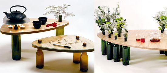 mesas botellas blog Mesitas con botellas recicladas