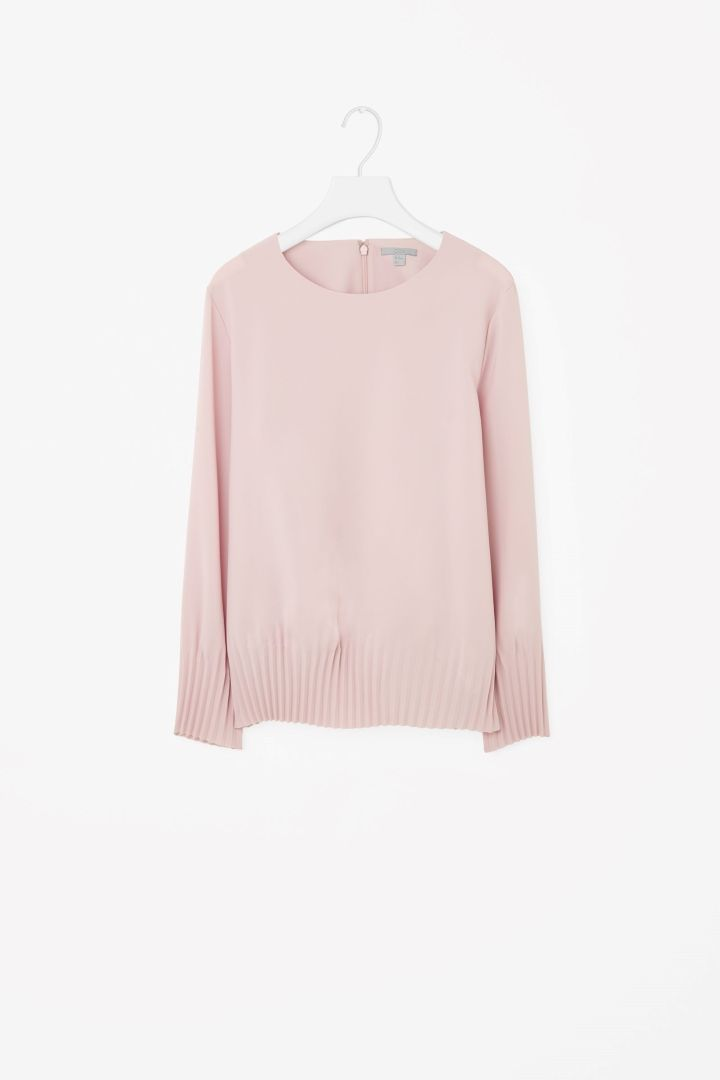 Pleated cuff and hem top - Rose Pink - Tops - COS GB