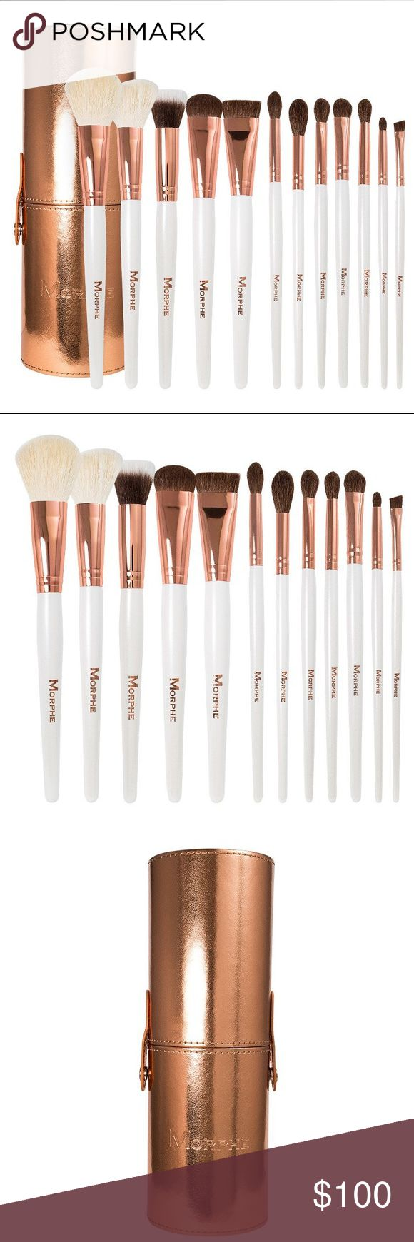 """MORPHE 12PC 707 ROSE GOLD COPPER DREAMS BRUSH SET The striking rose gold ferrules, white handles, and glamorous rose gold brush case bring performance and beauty together in a go-to set for any makeup lover.  Powder Brush 8""""  Angle Blush Brush 7 3/4""""  Duo Fiber Foundation Brush 7.5""""  Deluxe Shadow Brush 7 1/4"""" 1"""" Flat Contour Brush 6.5"""" Blender Brush 7 3/8""""  Deluxe Highlight Brush 7.5""""  Firm Blending Fluff 7 1/4""""  Round Blender Brush 7 3/8""""  Eye shadow Brush 7 1/4""""  Bullet Crease Brush 6…"""