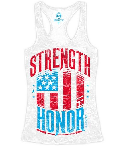 RokFit Strength & Honor Women's Razorback Tank Front