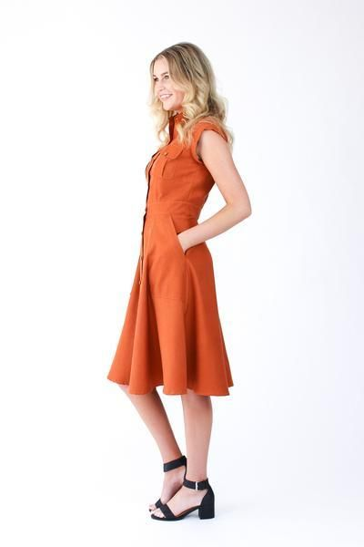 Princess seams, beautiful yokes, tailored collar and stand, button placket, statement pockets - Matilda has everything you need in a shirt dress pattern! https://megannielsen.com/products/matilda?utm_campaign=coschedule&utm_source=pinterest&utm_medium=Megan%20Nielsen%20Patterns