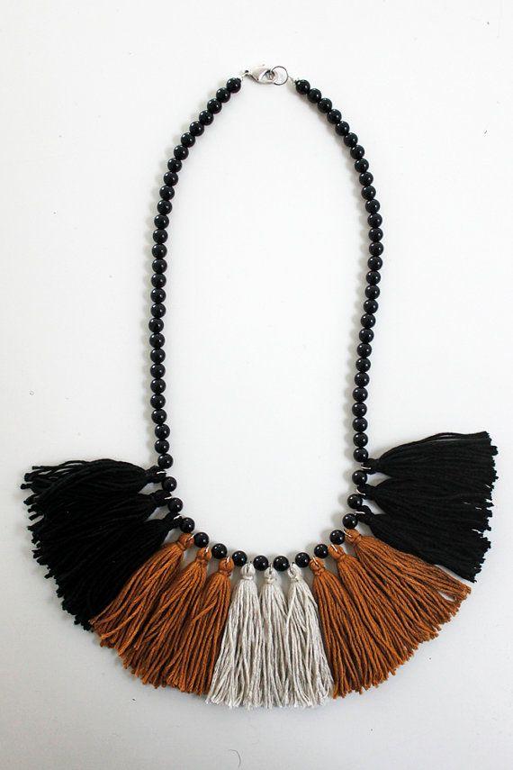 Madi Jane Tassel Necklace Black White and Brown Statement