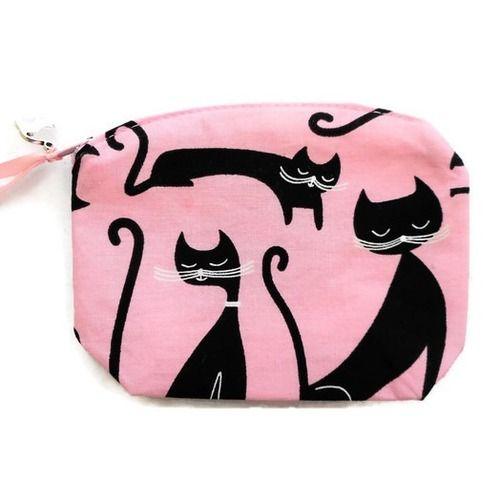 Accessoire chat porte-monnaie chats noirs fond rose clair en coton breloque chat
