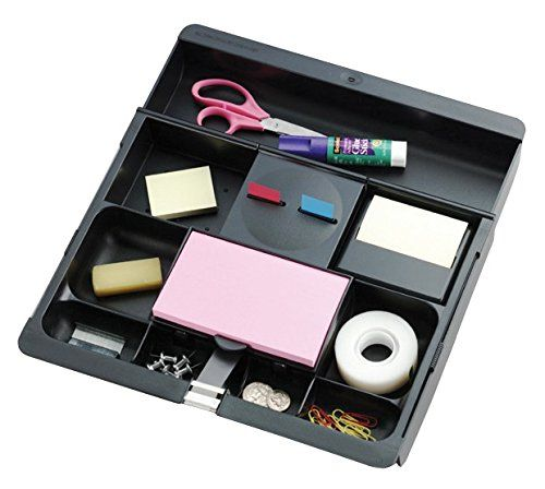 Post-it Desk Drawer Organizer, 10-1/2 x 11-3/4 x 1-5/8-Inches, Black - http://www.homeandofficeproducts.com/post-it-desk-drawer-organizer-10-12-x-11-34-x-1-58-inches-black/