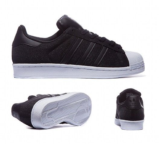 adidas Originals Womens Superstar Glitter Trainer | Black | Footasylum