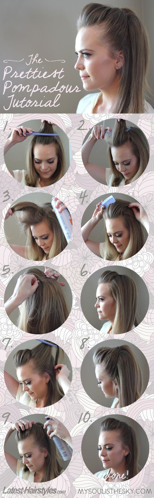 1. Take the front part of your hair – your fridge 2. Start teasing it with a comb 3. Spray your hair 4. Carefully comb the hair backwards. Make sure it has enough volume on the top 5. Secure the hair with a bobby pin or two. 6. HThis is how it should look like so far 7. Time to take care of the sides. Take a small section of hair from your left side and secure it with a pin together with the fringe. 8. Repeat this with the right side and spray with a hair spray. 9. Voila Pompadour style to…