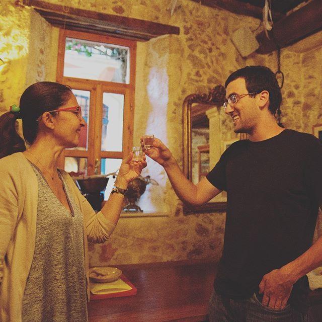 After a long day of cooking .. it's easy to be #thankful for any #alcohol.... especially for a #shot of #CretanRaki @xekalou #raki # #shotofjoy #cookingclassingreece #cookinglessonsingreece #crete #hospitality #cretanhospitality #cheers