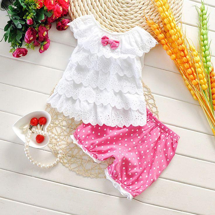 Девочка Комплект Одежды Лета Девочка Vetement Дочь 2 шт. мода полька dot одежда для новорожденных рукавов футболки + половина брюки костюм