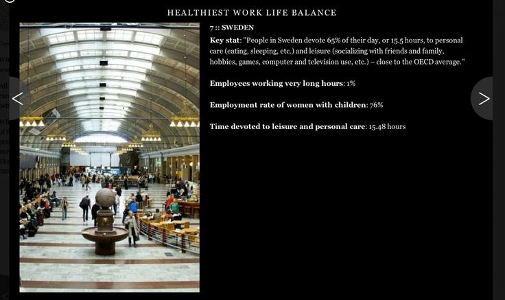 """Della serie """"un'altra buona ragione per vivere in Svezia"""". Italia non classificata. In Svezia, i lavoratori che fanno lo straordinario sono solo l'1%..: Series Un Altra, The Series, Serie Un Altra"""
