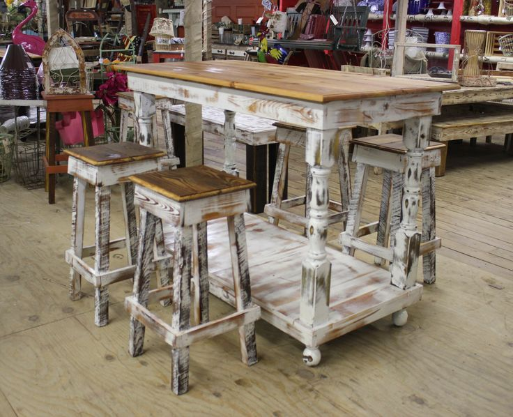 Barstools Table Perfect For Your Kitchen Covered Porch Patio Lake House Shabby White And