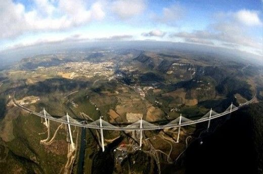 Maillau Viaduct,Paris to Barcelona, tallest bridge in the world.  Thirty One of the World's Most Amazing Roads