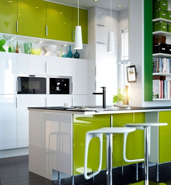 Lime looks sublime in this kitchen @GloMSN http://glo.msn.com/living/kitchens-with-color--remodelista-7476.galleryPendants Lamps, Modern Interiors Design, Ideas, Small Kitchens Design, Green Kitchens, Ikea Kitchens, Kitchens Cabinets, Kitchen Designs, Hanging Lamps