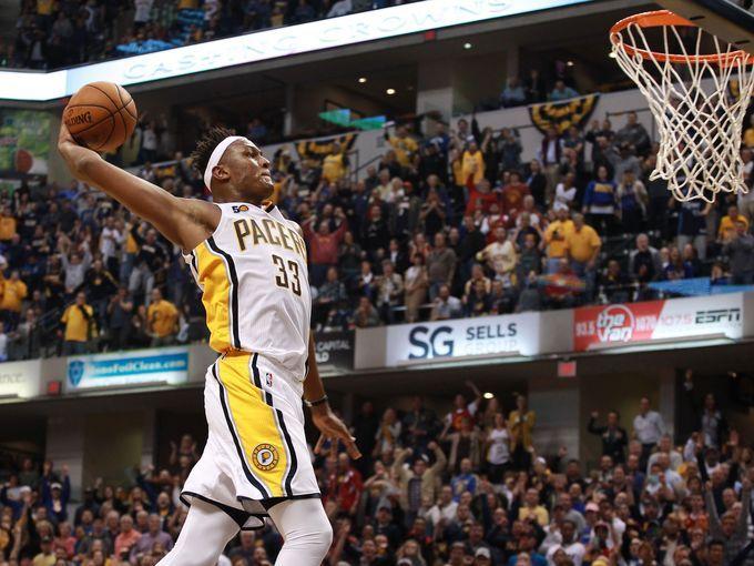 Myles Turner soars for a fastbreak dunk.
