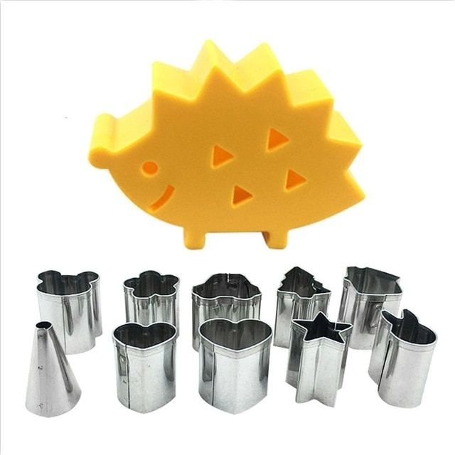10pcs//set Fruit Biscuit Cookie Ham Stainless Steel Mini Cutter Mold Hedgehog Box