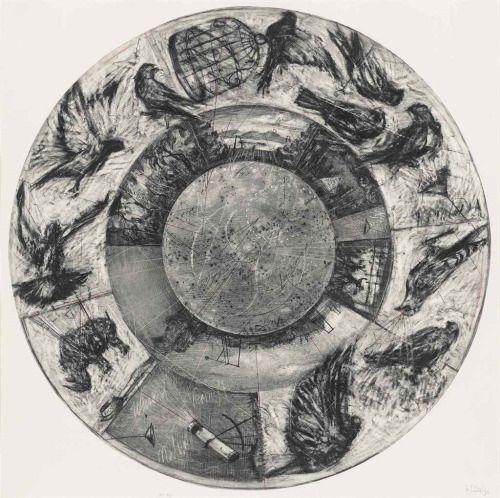 William Kentridge (South African, b. 1955), Music Box Tondo, 2006. Archival pigment print in colours, 1073 x 1073 mm