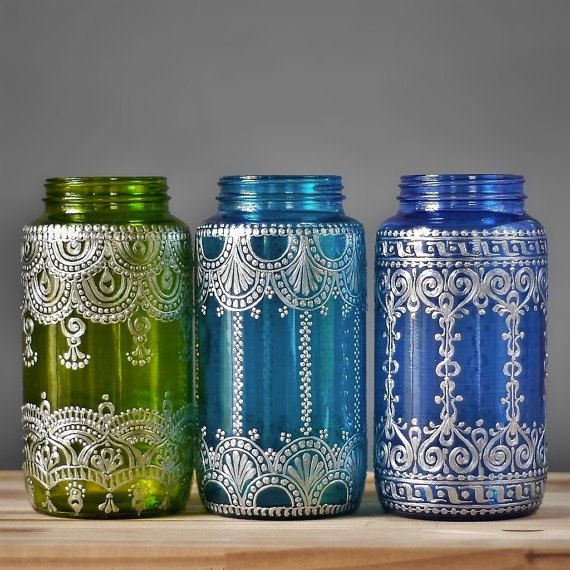 Bohemian Vase or Lantern, Silver Metal Accented Eclectic Home Decor, Choose One Boho Vessel in Peridot, Teal, or Blueberry, Mason Jar Decor