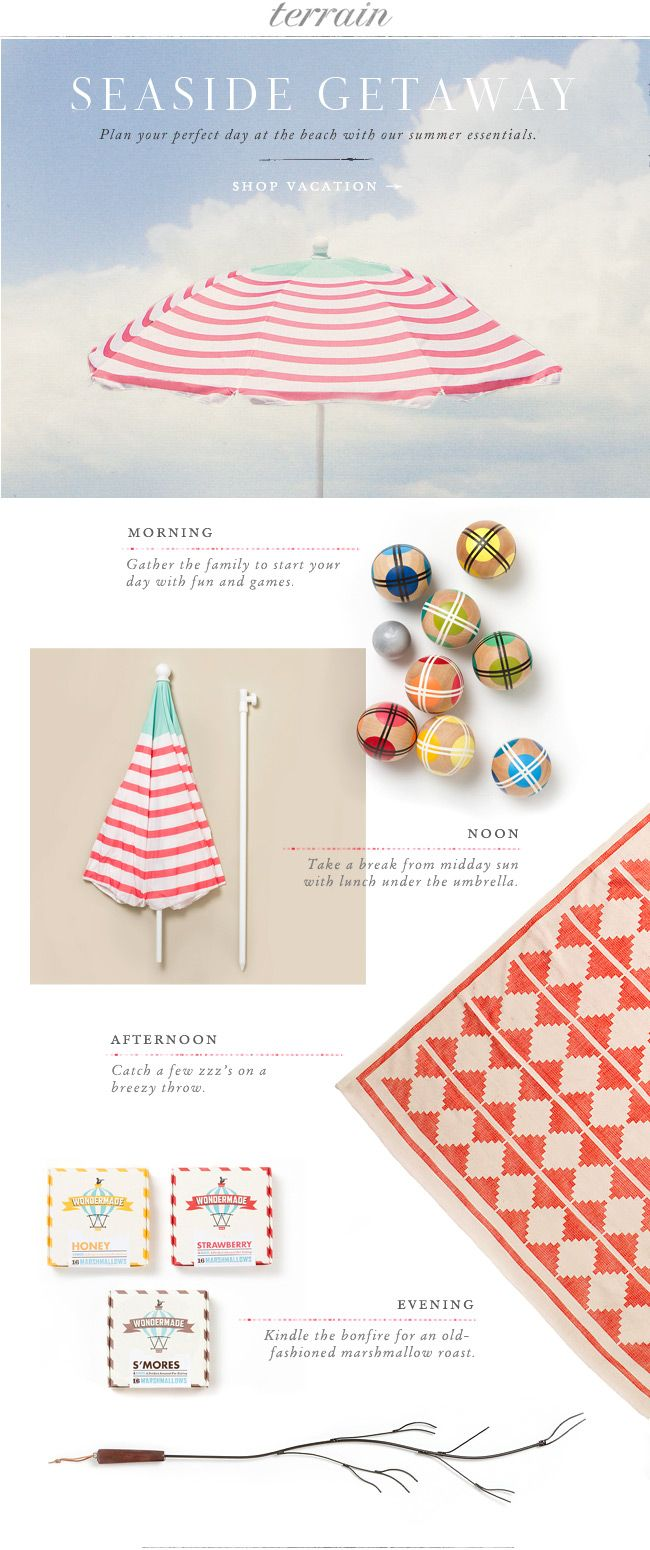 Plan your prefect day at the beach with our summer essentials at Terrain.