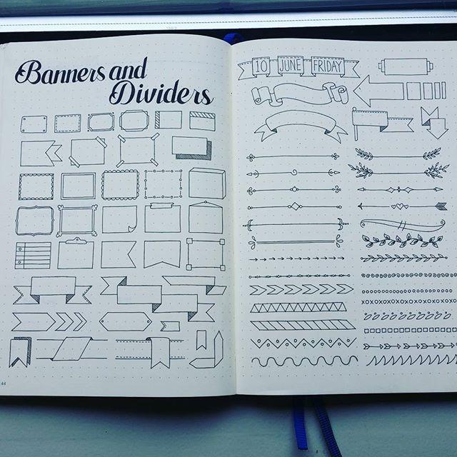 Some doodling of banners and dividers. Enjoy! #bulletjournaljunkie…