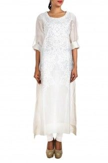Embroidered White Kurta By Samant Chauhan  Rs. 12,000