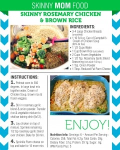 One of my favorite new Skinny Mom meals - Skinny Rosemary Chicken & Brown Rice. A super flavorful meal. Absolutely delicious!!