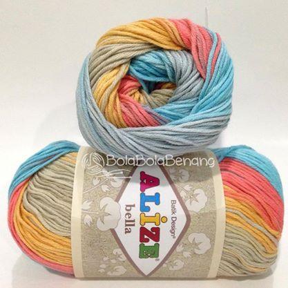 Alize Bella Batik 4593, Price: Rp.65.000,- /gulung, Bahan: 100% COTTON, Berat/Panjang: 50gram/180mt, Knitting Needles: 2mm - 4mm, Crochet Hook: 1mm - 3mm