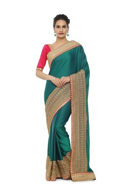 b216beeda1ee22 Soch Green Embroidered Art Silk Saree With Blouse
