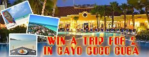 Grand prize: an all-inclusive, 1-week trip for 2 to the Sol Cayo Guillermo Hotel in Cayo Coco Cuba incl. flights, ARV $2369