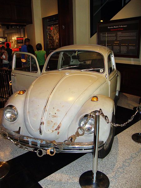 This car was owned (and heavily used) by the infamous American serial killer, Ted Bundy. He removed the passenger seat to better hide his victims before disposing of them. Today in Chinatown, Washington, DC, US. National Museum of Crime and Punishment in Washington.