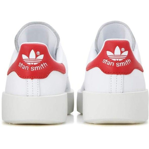 Adidas Originals Stan Smith Bold Leather Sneakers ($93) ❤ liked on Polyvore featuring shoes, sneakers, white leather sneakers, adidas originals sneakers, leather trainers, genuine leather shoes and red shoes