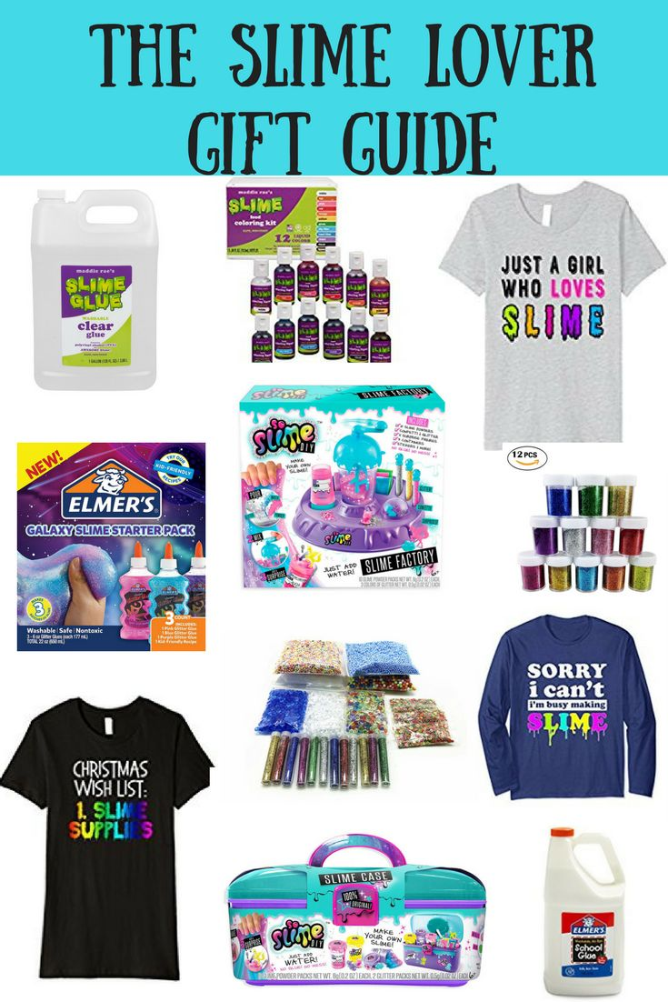 Gifts for Slime Lovers. Including slime supplies, slime accessories, t-shirts and slime kits
