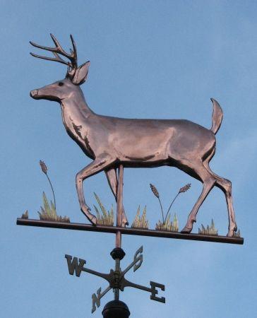Weathervanes >> White Tail Deer Weather Vane, Copper Deer with Brass Grasses   Weathervanes-windwijzers ...