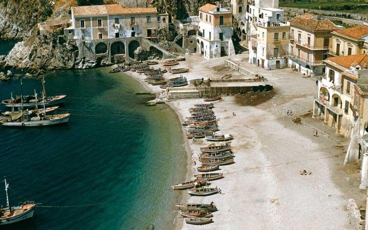 A high angle view of Erchie (Maiori), Campania, on the Amalfi Coast, Italy