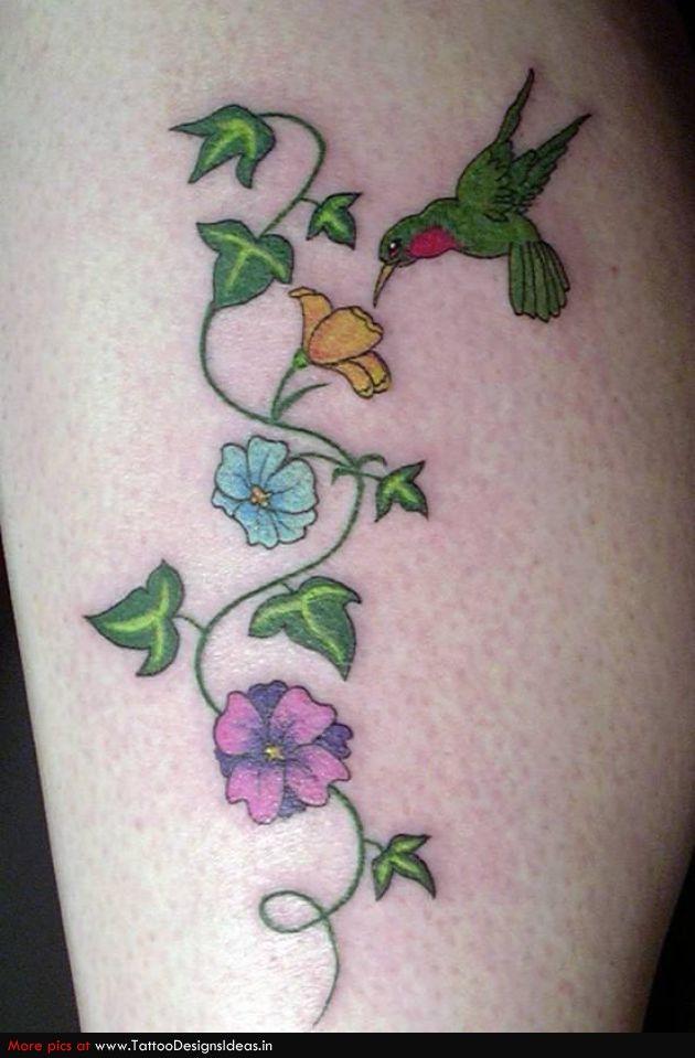 hummingbird tattoo designs for women | Tattoos Of Humming Bird: Hummingbird Tattoo On Foot Black