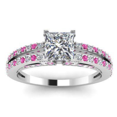 Disney Princess Engagement Rings 2013   Princess Shaped Pink Sapphire & Diamond Engagement Ring