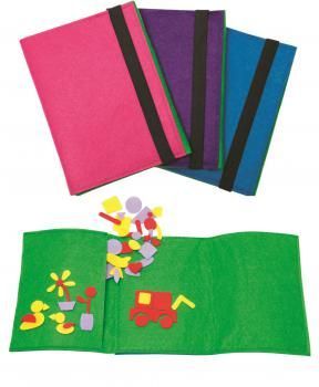 Our Felties Travel set is a fantastic way to get children's minds and imaginations alive and active. Not only is this travel set a great way to work on colours and shapes but is a fantastic tool for creating stories.  Each set contains: *300+ fun felt shapes in 4 different colours *A handy folder to store them in which itself forms the background surface.