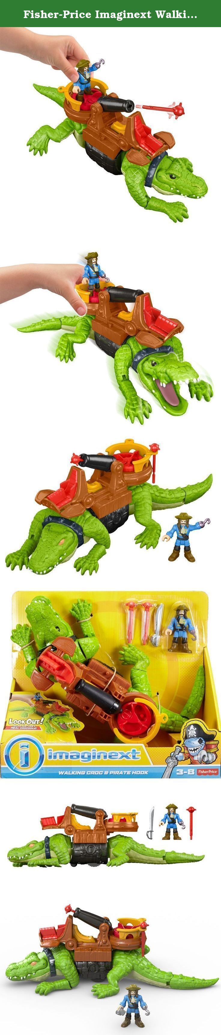 """Fisher-Price Imaginext Walking Croc & Pirate Hook. Pirate Hook has harnessed the power of this ferocious croc at great cost. (There's a hook where his hand used to be!) Hook'll do anything to protect his treasure-he's riding the giant croc to scare off his enemies and he's even mounted a cannon on its back. When Hook and his treasure are threatened, just turn the Power Pad to launch a """"cannonball."""" Young buccaneers won't have to imagine this croc chasing intruders-they can roll it along…"""