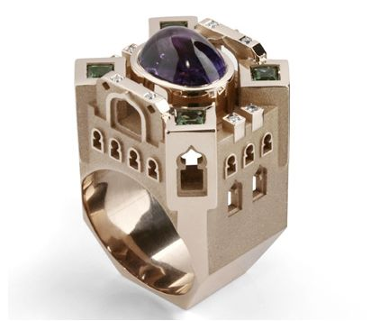 18k White gold Dubai ring with amethyst and tourmalines