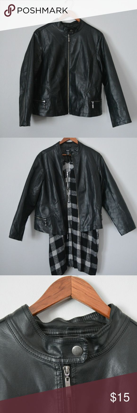 Faux Leather Jacket Plus size black faux leather jacket. Perfect for everyday and night out looks! Slightly cropped. Worn a handful of times, in great condition. Best fits 1X/2X. Manifesto Jackets & Coats