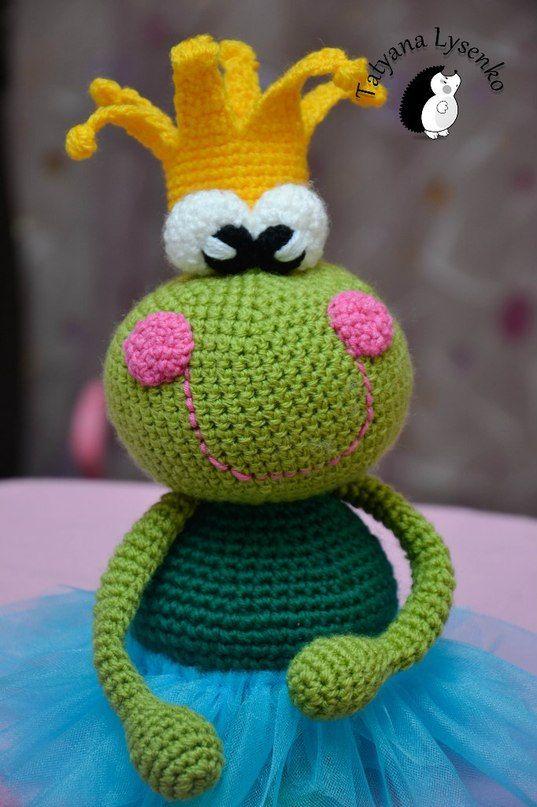 Crochet Pattern the princess frog, Frosch Froschkönigin, Häkelanleitung, gehäkelt,  häkeln