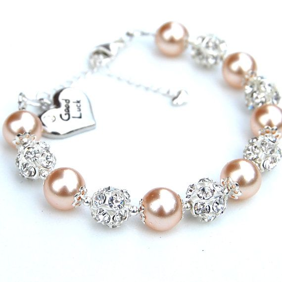 Good Luck Charm Bracelet Champagne Pearl Rhinestone by AMIdesigns, $29.00