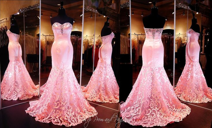 You will be the talk of the town in this fabulous satin flamingo colored mermaid. Beautiful beading adorn the strapless sweetheart neckline and the sheer skirt is adorned with coral satin embellishments. Absolutely gorgeous and ONLY at Rsvp Prom and Pageant, Atlanta, GA