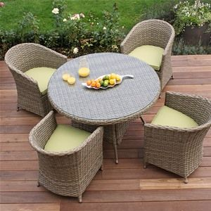Maze Rattan Natural Milan 4 Seat Dining Set With Rounded Chairs